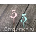 """Топпер деревянный """"5"""" розовый"""